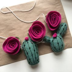 This item is unavailable Felt Diy, Felt Crafts, Fabric Crafts, Kids Crafts, Felt Garland, Felt Ornaments, Cactus Craft, Felt Succulents, Yarn Thread