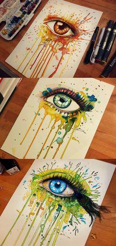 Eye paintings // Svenja Jödicke 'aka' pixiecold on Deviantart and Etsy♥♥ Middle School Art, Eye Art, Teaching Art, Preschool Learning, Art Plastique, Oeuvre D'art, Art Inspo, Painting & Drawing, Amazing Art