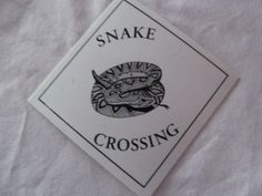 Rattlesnake Caution Snake Crossing Sign Small 4x4  Car Window Door Wall Tree Sign Garden Decor Mancave  ReVintageLannie.Etsy.com