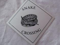 Rattlesnake Caution Snake Crossing Sign Small 4x4 Car Window Door Wall Tree Sign Garden Decor Mancave ReVintageLannie.Etsy.com