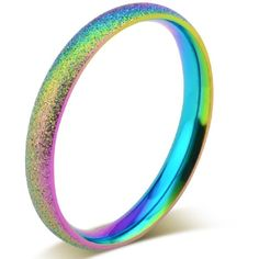 2mm Stainless Steel Sand Blast Finish Rainbow Gay Lesbian Wedding Band... ($11) ❤ liked on Polyvore featuring jewelry, rings, rainbow ring, wedding rings jewelry, wedding band jewelry, rainbow jewelry and sand jewelry