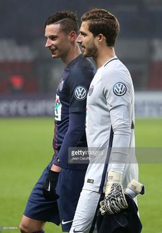 Julian Draxler and countryman, goalkeeper of PSG Kevin Trapp of PSG celebrate the victory following the French Cup match between Paris Saint-Germain and SC Bastia at Parc des Princes on January 7, 2017 in Paris, France.
