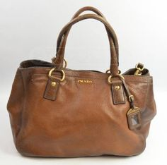 Prada Brown Deerskin Leather Purse