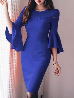 Round Neck Plain Bodycon Dress - berrylook.com