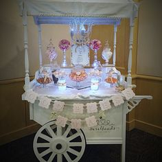 Beautiful cart all dressed up for s communion! Pink & Gold