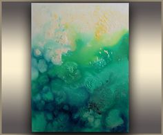 Oil painting Abstract Art Painting Abstract painting Modern Art Blue Emerald, Ombre, Teal Painting, Green, ORIGINAL art by Tatjana Ruzin