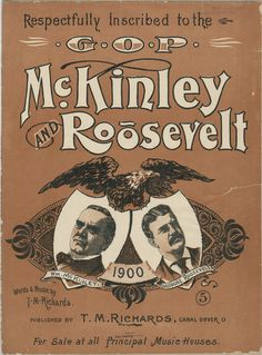 McKinley and Roosevelt 1900 Poster Presidential Campaign Posters, Roosevelt, Comic Books, Comics, Words, Cartoons, Cartoons, Comic, Comic Book