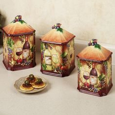 Wine Map Grapes Kitchen Canister Set