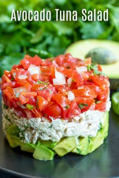 This healthy Avocado Tuna Salad recipe is a keto and low carb lunch or dinner re. - This healthy Avocado Tuna Salad recipe is a keto and low carb lunch or dinner recipe made with crea - Avocado Tuna Salad, Avocado Dessert, Fresh Avocado, Avocado Toast, Cucumber Salad, Stuffed Avocado, Avocado Smoothie, Healthy Chicken Recipes, Seafood Recipes