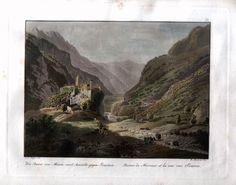 Die Ruine von Misox und Aussicht gegen Soazza. Ruines de Misocco et la vue vers Soazza.