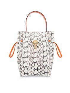 Oscar de la Renta Elaphe & Leather Sloane Small Bucket Bag