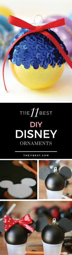 Here are the 11 Best DIY Disney Ornaments that will help bring your love of Disney and the holidays into your home! Disney Christmas Ornaments, Christmas Tree Ornaments, Christmas Fun, Deco Noel Disney, Diy Hanging Shelves, Party Decoration, Disney Crafts, Diy Disney Gifts, Disney Art Diy