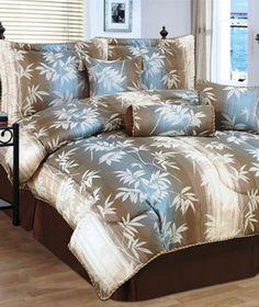 7 PC King or Queen Bamboo Comforter Set w Skirt 3 Decor Pillows incl Free SHP | eBay