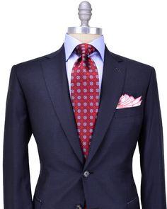 Brioni Navy Tonal Check Suit