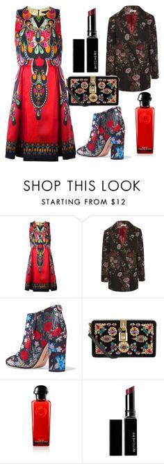 """red dress"" by karen-lynn-rigmarole ❤ liked on Polyvore featuring Manish Arora, Ganni, Sam Edelman, Dolce&Gabbana, Witchery and reddress"