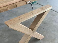 Build Your own X-Leg Outdoor Table - Honeybear Lane Diy Outdoor Table, Outdoor Tablecloth, Outdoor Dining, Outdoor Decor, Pallet Furniture Outdoor Table, Pallet Benches, Pallet Couch, Pallet Tables, Pallet Bar