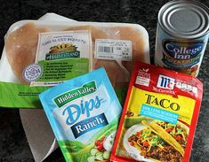 4 Ingredient Crockpot Chicken Ranch Taco Recipe--taco seasoning, ranch dip mix, chicken broth, chicken.