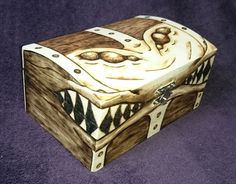 LARGE 3 eyed Mimic Chest / Trinket / Dice box  by TheLootLair Pyrography woodburning D&D dnd dungeaons and dragons tabletop gaming geeky nerdy