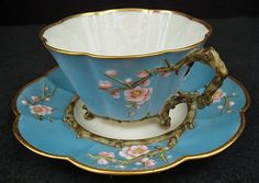 This stunning example of Belleek Thorn pattern finished with Blue and gilt. First Black Period.
