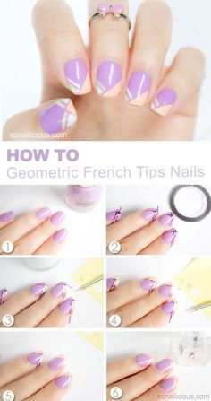 Pretty French Tips Nail Art Tutorial: http://sonailicious.com/geometric-french-tip-nails-tutorial/