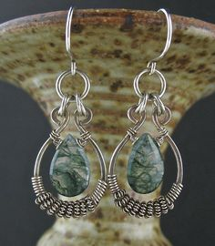 Green Gemstone Wire Wrapped Earrings Moss Agate by LoneRockJewelry
