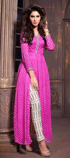 INDIAN DYE PRINTS - #SalwarKameez at flat 15% off + free shipping.  #IndianWedding #bridalwear #prettyinpink #slit #onlineshopping #pencilpants