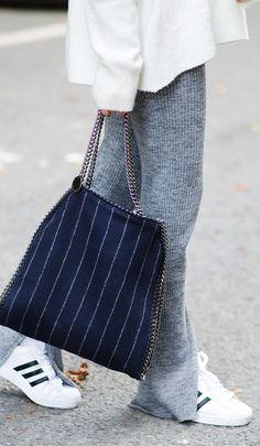 Inspiration: grey pinstripe wool pants, sneakers & Stella McCartney bag