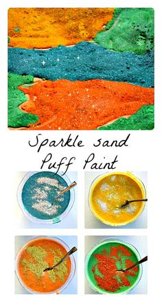 Simple recipe for sparkle sand puffy paint from Blog Me Mom