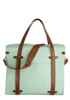 Camp Director Tote in Mint - Mint, Work, Casual, Better, Variation, Cotton, Faux Leather, Woven, Brown, Solid