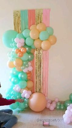 Birthday Party Decorations For Adults, 1st Birthday Party For Girls, Balloon Decorations Party, Birthday Party Themes, Party Decoration Ideas, Balloon Arch Diy, Balloon Ceiling, Baby Shower Decorations For Boys, Party Kulissen