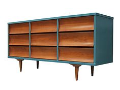 1950's blue lacquered drawer unit... update the modern walnut set that I already have?