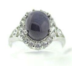 Item #1080  Blue Star Sapphire w 1.08 Ct. Zircon Sterling Silver Ring Size 7,   $124.99  http://stores.ebay.com/jjewelsboutique