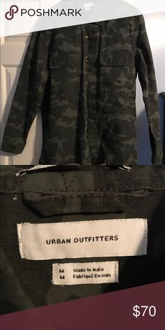 Camo jacket Urban Outfitters Camo jacket Urban Outfitters. Oversized! Too big for me only worn once for an hour. Price non negotiable. PAYMENT THROUGH PAYPAL ONLY. Price includes shipping and handling Urban Outfitters Jackets & Coats Military & Field