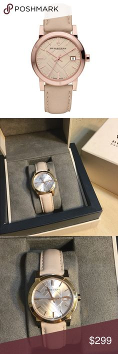 🎀rose gold Burberry watch🎀 Rose gold Burberry watch ⭐️ in EUC, in very good shape 10/10. Sold out in many departments. Very beautiful piece 🌸 feminine and dainty p🌸 Comes with box, case, cards and paperwork. Perfect to regift. Check my other listing for gold Burberry watch check nova ❤️💜 Burberry Accessories Watches