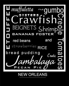 New Orleans Food Personalized Subway Art by letspartynola on Etsy, $10.00