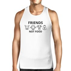 ca8b0ffb143965 Friends Not Food White Tank Top Cute Animal Graphic Shirt For Men