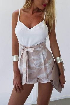 Fashion Spaghetti Strap Romper White Fashion Spaghetti Strap Romper Material: CottonDecoration: RufflesWaist Type: HighClosure Type: Elastic WaistPant Style: Regular Casual Summer Outfit Ideas for Women Summer Outfits Women, Casual Summer Outfits, Outfits For Teens, Spring Outfits, Trendy Outfits, Cool Outfits, Fashion Outfits, Womens Fashion, Fashion Trends