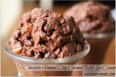 Chocolate almond ice cream made with coconut milk!