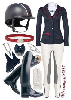 """Navy and Red Dressage"" by dressagegirl217 ❤ liked on Polyvore featuring Spooks and Prada"