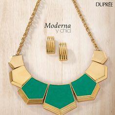 Collares grandes. Moda femenina. Dupree Colombia Gold Necklace, Chic, Jewelry, Fashion, Big Necklaces, Jewelry Trends, Feminine Fashion, Colombia, Elegant