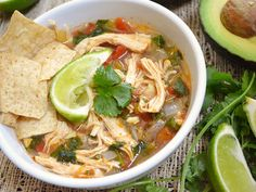 Mexican Chicken Lime Soup  I'll try adding rice instead of tortilla, then diced avocado at the end. Welcome fall soups!