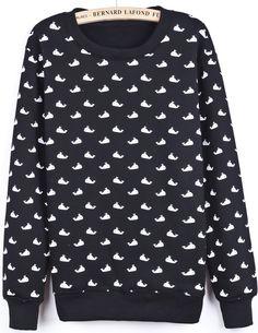 Black Long Sleeve Whale Print Sweatshirt - Sheinside.com