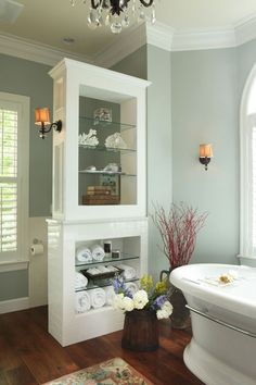 Bathroom a few ideas, master bathroom renovation, bathroom decor and master bathroom organization! Master Bathrooms may be beautiful too! From claw-foot tubs to shiny fixtures, these are the master bathroom that inspire me the most. Bathroom Renos, Laundry In Bathroom, Master Bathroom, Bathroom Storage, Bathroom Ideas, Bathroom Shelves, Glass Shelves, Wall Storage, Bathroom Remodeling