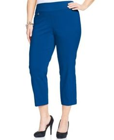 Alfani Plus Size Pull-On Capri Pants, Created for Macy's - Green 22W