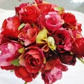 Burgundy & Red Silk Wedding Bouquet