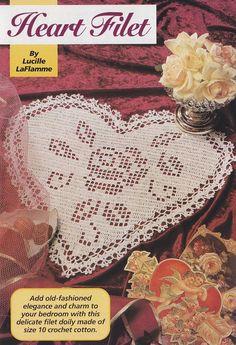 *.*.* Heart Doily Crochet Pattern - Valentine's Day Decor - Filet