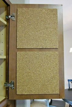 Cork Board in Cupboards. I pin the recipe Im working on to the cork board,which puts it right at eye level and keeps it clean. I also have a chart for measurements and ingredient substitutions in another cupboard. Its really convenient not to have to get a cookbook out for that information.