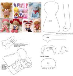 Felt Crafts Patterns, Doll Sewing Patterns, Sewing Dolls, Tiny Dolls, Soft Dolls, Fabric Dolls, Paper Dolls, Doll Tutorial, Felt Toys