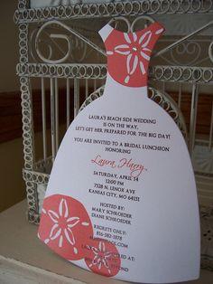 theme bridal shower | Beach Theme Sand Dollar Bridal Shower Invitation - Custom Dress Die ...