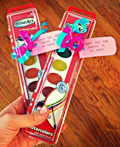 painting party favors via rosylemmons Pinner-I love this favor idea- I will add a hello kitty label to fit my theme.